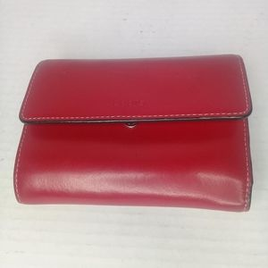 Lodis Red Audrey Mallory French tri-fold wallet